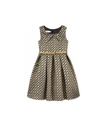 i. n black/gold leopard brocade belted a-line dress with chain belt