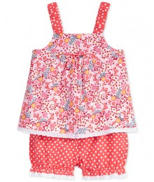 first impression pink/coral floral print 2 pc Baby Girl