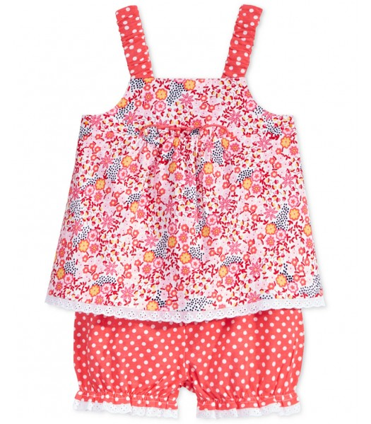 first impression pink/coral floral print 2 pc