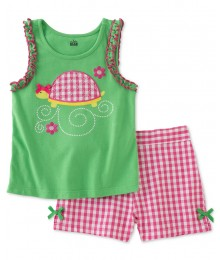 kids heasquarters green pink/white check set  Baby Girl