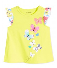 first impressions yellow butterfly fluter tee