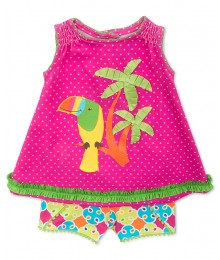 rare editions pink/green bird & tree 2pc set
