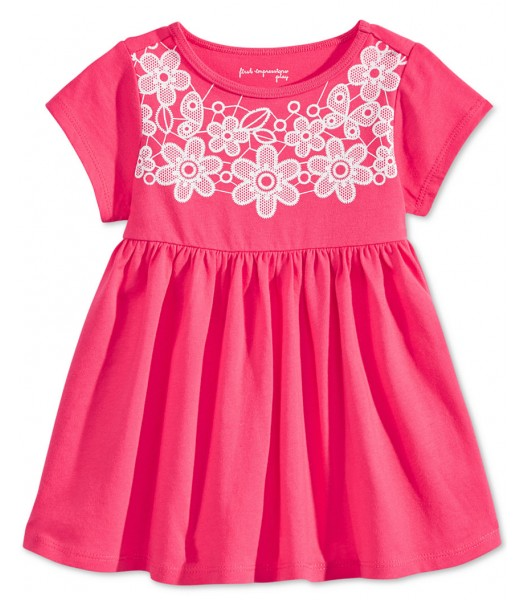 first impression pink/wht lace babydol tunic