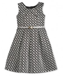Bonnie jean silver/black metallic brocade wt silver belt girls dress