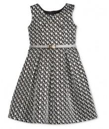 Bonnie jean silver/black metallic brocade wt silver belt girls dress