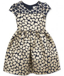 Rare editions navy/gold brocade leaf print girls dress