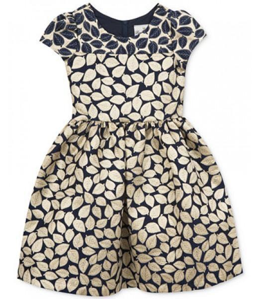 Rare editions navy/gold brocade leaf print girls dress