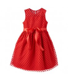 Marmellata red wt classic red velvet polka dot dress Little Girl