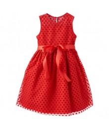 Marmellata red wt classic red velvet polka dot dress