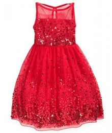 Speechless red sequin illusion girls dress