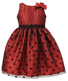Jayne copeland red/black polka-dot girl dress