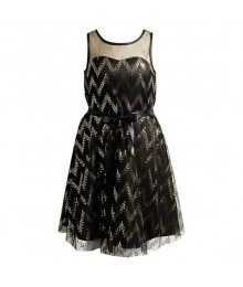 Emily west black wt gold glitter dot chevron illusion girls dress  Big Girl