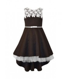 bonnie jean black jaquard hi-lo dress wt white lace neck