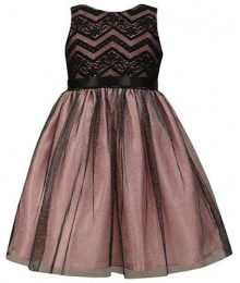 Jayne copeland black wt pink undelay lace bodice glimmer dress