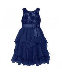 American princess navy floral sequin soutache ruffle plus size dress