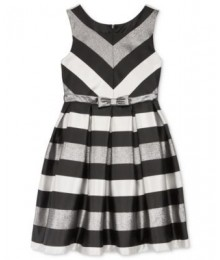 Bonnie jean silver/black striped shantung pleated girls dress  Big Girl
