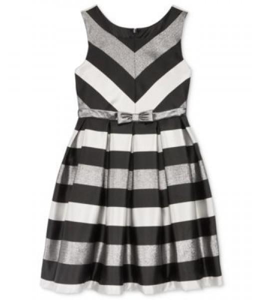 Bonnie jean silver/black striped shantung pleated girls dress