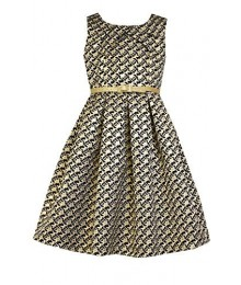 Bonnie jean black/gold belted floral jacquard a-line dress