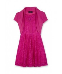 Amy byer fuschia pink 2pc lace skater wt shrug dress