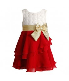 Youngland red/white textured rosette chiffon dress
