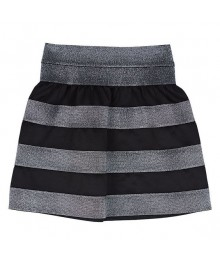 Amy byer black/silver striped scuba skirt