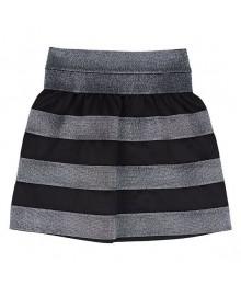 Amy byer black/silver striped scuba skirt Big Girl