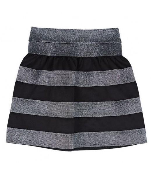 Amy byer black/silver striped scuba skirt