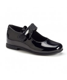 Rachel black patent wt buckle flat ballet girls shoes