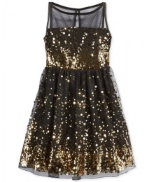Crystal doll black/gold sequin illusion girls dress  Big Girl