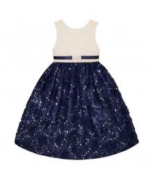 American princess navy/white soutache sequin dress