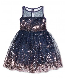 Crystal doll navy/rosy gold sequin illusion girls dress