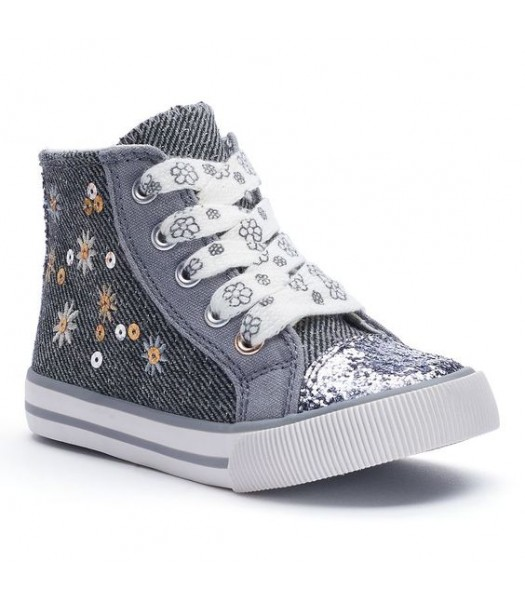 Jumping beans grey sequined hi-top lace girls sneakers