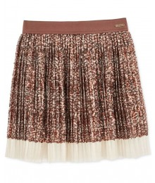 Guess chocolate brown sequin tulle pleated skirt