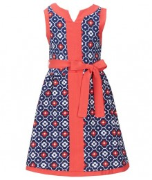 Rare editions navy/pink floral printed textured dress