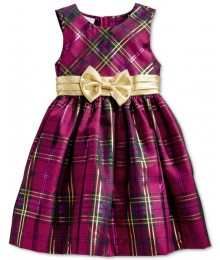 Bonnie jean purple/gold metallic plaid girls dress
