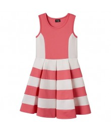 2 hip coral/white striped scuba skater dress