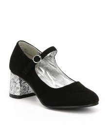 Kenneth Cole Black Suede Glitter Block Heel Shoes