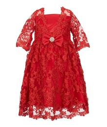 Chantilly Place Red Lace Sleeve Dress