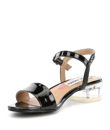 Steve Madden Black Glossy Transparent Block Heel Sandals