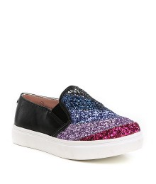 Steve Madden Girls Multi Glitter Black Sneakers  Shoes