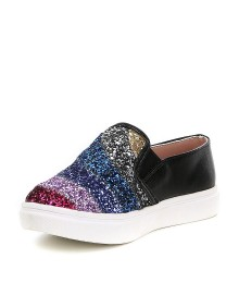 Steve Madden Girls Multi Glitter Black Sneakers