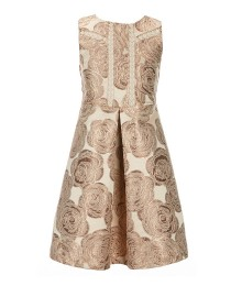 Gb Girls Gold Jacquard Sleeveless Pleated Dress  Little Girl