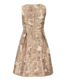 Gb Girls Gold Jacquard Sleeveless Pleated Dress