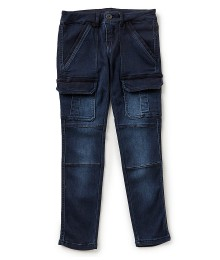 Copper Key Blue Stone Wash Knee Pocket Cargo Pants