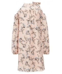 Xtraordinary Pink With Blue Cold Shoulder Long Sleeve Printed Dress