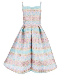 Pippa And Julie Pink/Blue Striped Metallic Waist Beaded Dress