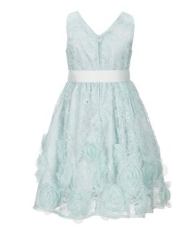 Zunie Mint/Green Lace Ruffled Hem White Bow Belted Dress