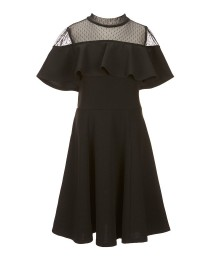 Honey And Rosie Black Net Neck Flared Dress