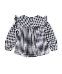 Joules Black/White Check Floral Embroidered L/S Top