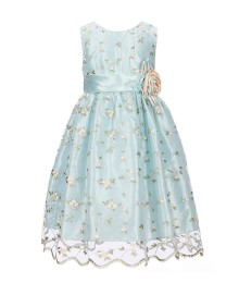 Jayne Copeland Baby Blue Floral Embroidered Satin Waist Bow Dress